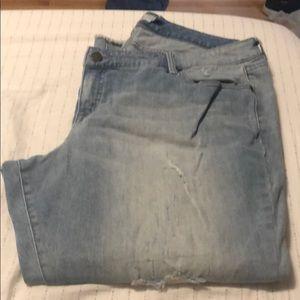 light wash, distressed, boyfriend jeans